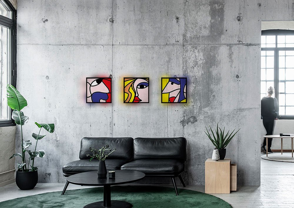industrieel interieur, modern, glasraam, leeuw, glas on lood, picasso